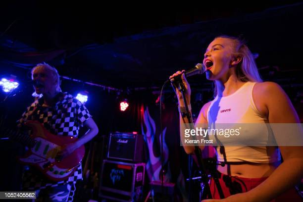 Alice Go and Rakel Mjoll of Dream Wife performs at Whelan's on October 17 2018 in Dublin Ireland