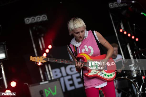 Alice Go of Dream Wife performs at the BBC 6Music Biggest Weekend at Titanic Slipways on May 26 2018 in Belfast Northern Ireland