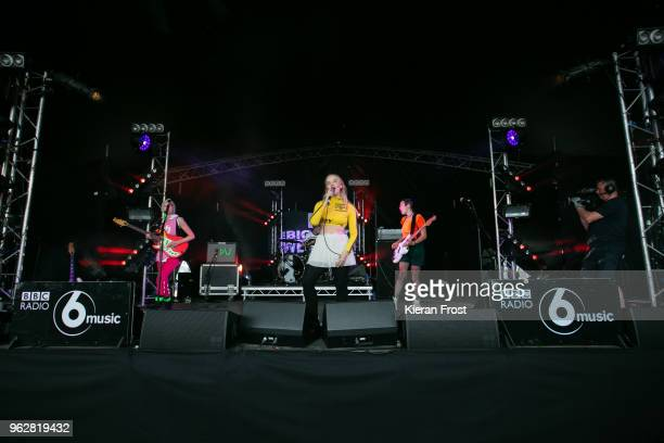Alice Go Rakel Mjoll and Bella Podpadec of Dream Wife perform at the BBC 6Music Biggest Weekend at Titanic Slipways on May 26 2018 in Belfast...