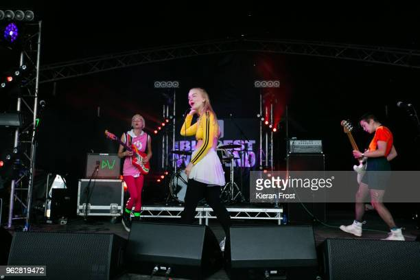 Alice Go Rakel Mjoll and Bella Podpadec of Dream Wife performs at the BBC 6Music Biggest Weekend at Titanic Slipways on May 26 2018 in Belfast...