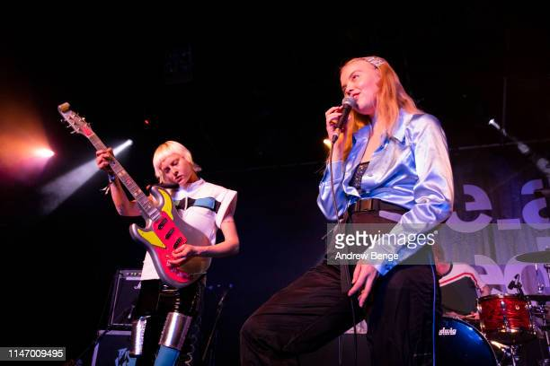 Alice Gough and Rakel Leifsdottir of Dream Wife perform on stage at Beckett University Union during Live At Leeds festival on May 04 2019 in Leeds...