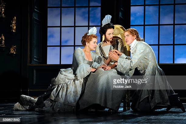 Alice Haig as Hermia Hedydd Dylan as Helena and Matt Barber as Lysander in Henry Purcell's The Fairy Queen directed by Jonathan Kent and conducted by...
