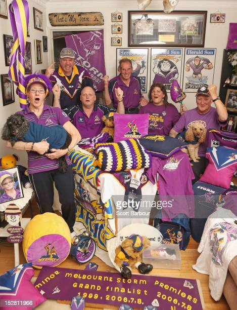 Alice Homer and Dennis Homer pose for a photo in their Melbourne Storm NRL paraphernalia adorned home along with fellow supporters Kaylene Poxon Ron...