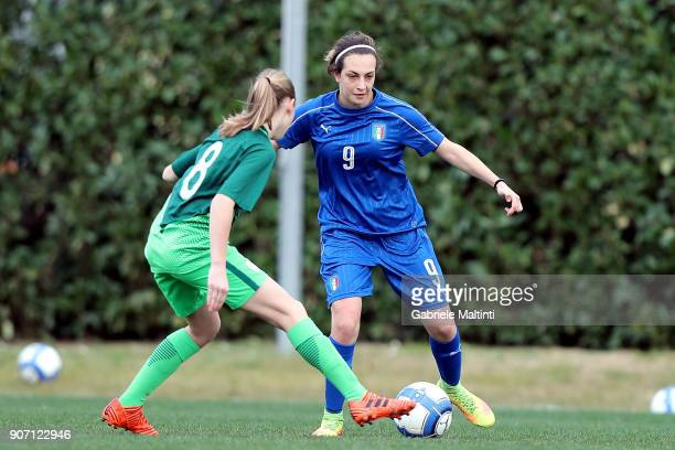 Alice Ilaria Berti of Italy U16 women in action against Pia Ciganovic of Slovenia U16 women during the U16 Women friendly match between Italy U16 and...