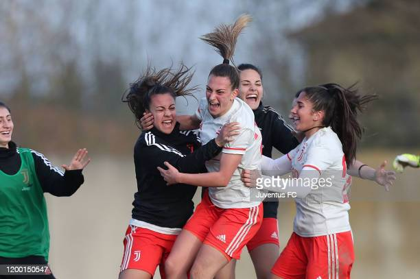 Alice Ilaria Berti of Juventus Women U19 celebrates after scoring a goal during the Viareggio Women's Cup match between Juventus U19 and Empoli U19...