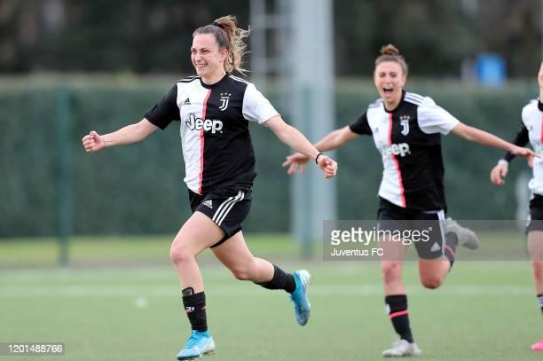 Alice Ilaria Berti of Juventus Women U19 celebrates the victory after the Viareggio Women's Cup match between Juventus U19 and ACF Fiorentina U19 on...
