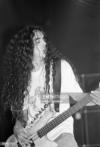 Alice In Chains bassist Mike Inze performs on stage at Brixton Academy London United Kingdom 1993