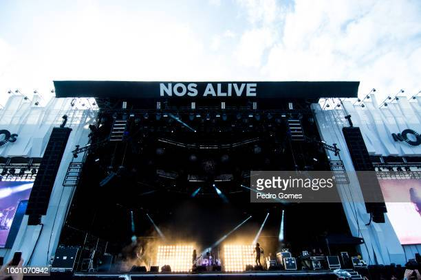 Alice in Chains performs on the NOS stage on day 3 of NOS Alive festival on July 14 2018 in Lisbon Portugal