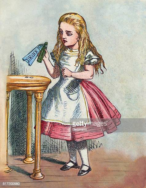 Alice In Wonderland Alice In Wonderland by Lewis Carroll Alice with the magic bottle I must be shutting up like a telescope After a drawing by Tenniel
