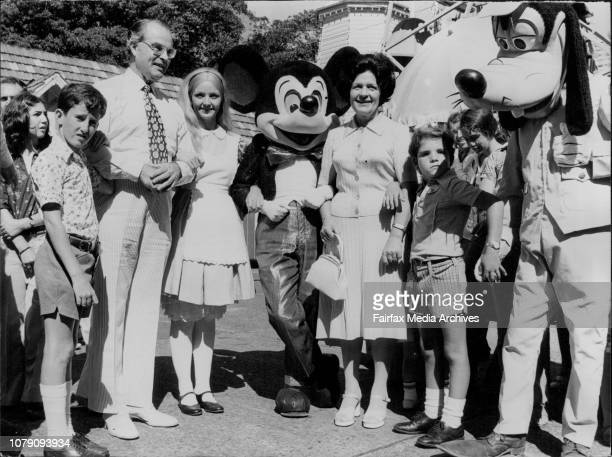 Alice in Wonderland and Mickey Mouse along with Sir Eric and Lady Willis with Kevin Foster and Kevin Greenup on the right both from Werrington Park...