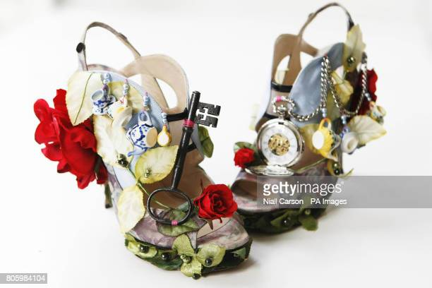 Alice In Wonderland inspired shoes designed by British shoe designer Nicholas Kirkwood during a press preview before going on display at Brown Thomas...