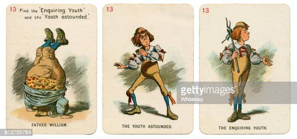 alice in wonderland playing cards 1898 set 13 - john tenniel stock pictures, royalty-free photos & images