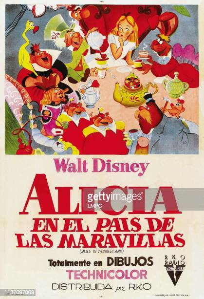 Alice In Wonderland poster Argentine poster art clockwise from top center Alice March Hare Carpenter Walrus Tweedledee and Tweedledum Caterpillar...