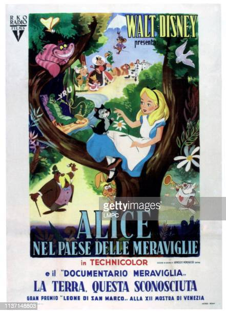 Alice In Wonderland poster center in tree Dinah Alice counterclockwise from top center Dormouse Queen of Hearts Mad Hatter Bread and Butter fly...