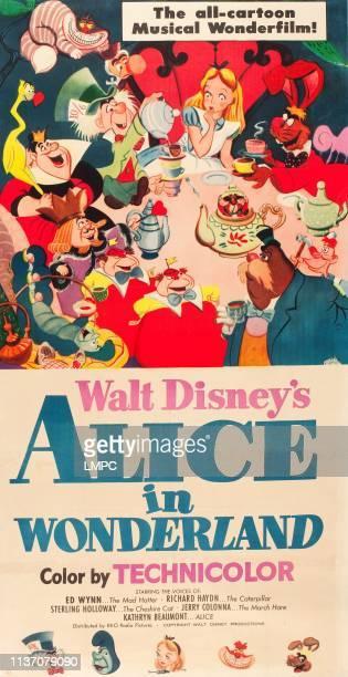 Alice In Wonderland poster clockwise from center Alice March Hare Carpenter Walrus Tweedledee Tweedledum Catepillar King of Hearts Queen of Hearts...
