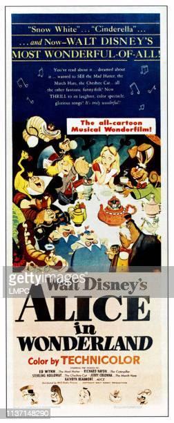Alice In Wonderland poster clockwise from top center Alice March Hare Walrus Tweedledee Tweedledum Catepillar King of Hearts Queen of Hearts Cheshire...