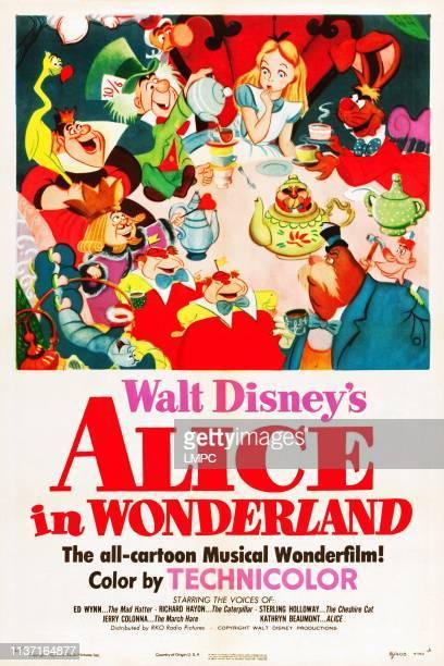 Alice In Wonderland poster clockwise from top center Alice March Hare Carpenter Walrus Tweedledee and Tweedledum Caterpillar King of Hearts Queen of...