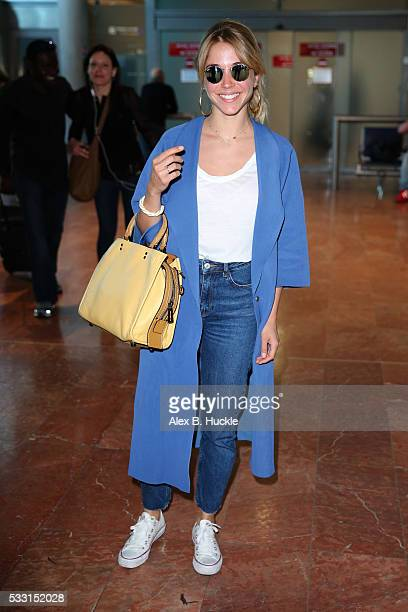 Alice Isaaz arrives at Nice airport during the 69th Annual Cannes Film Festival on May 21 2016 in Nice France