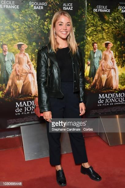 "Alice Isaaz attends the ""Mademoiselle De Joncquieres"" Paris Premiere at UGC Cine Cite des Halles on September 10, 2018 in Paris, France."