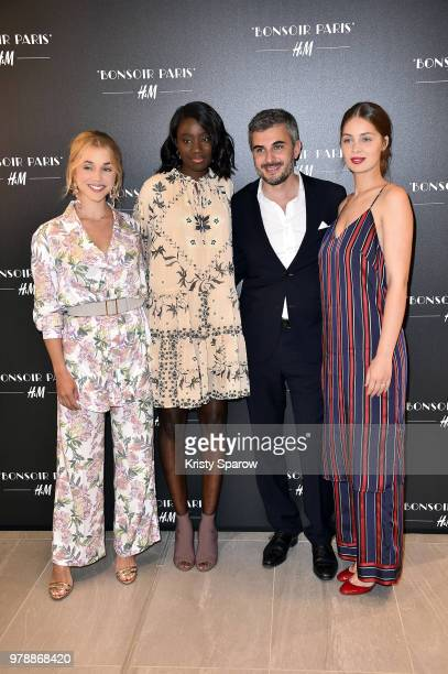 Alice Isaaz, Karidja Toure, General Director of H&M France, Thomas Lourenco and Marie-Ange Casta attend the H&M Flagship Opening Party as part of...