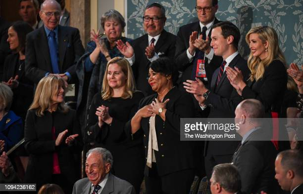 Alice Johnson responds after being recognized by President Donald J Trump during his State of the Union address before members of Congress in the...