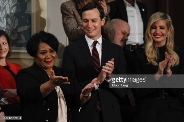 Alice Johnson special guest of US President Donald Trump and US First Lady Melania Trump reacts as President Trump not pictured acknowledges her...