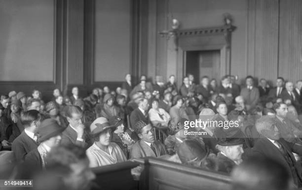 Alice Jones Rhinelander's sisters and brotherinlaws sit behind her her mother and her father during the annulment trail of her marriage to Leonard...