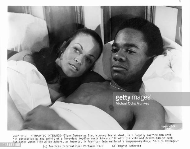 Alice Jubert in bed with Glynn Turman in a scene from the film 'JD's Revenge' 1976