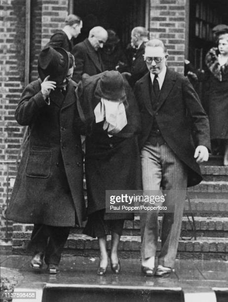 Alice Kenny Diamond widow of Irish American gangster Jack 'Legs' Diamond is supported as she follows her husband's coffin at his funeral at Mt Olivet...