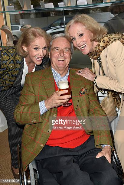 Alice Kessler Prinz Peter zu Hohenlohe and Ellen Kessler attend the 'Dorotheum Munich Hosts Cocktail Reception' on September 15 2015 in Munich Germany