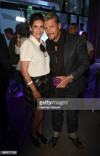Alice Krueger and her husband Hardy Krueger attend the Lascana show during the Berlin Fashion Week Spring/Summer 2019 at Hotel nhow on July 2 2018 in...