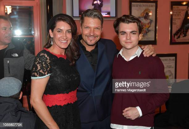 Alice Krueger and her husband Hardy Krueger Jr with his son Noah Krueger attend the premiere of the theatre play 'Arthur Claire' at Komoedie im...