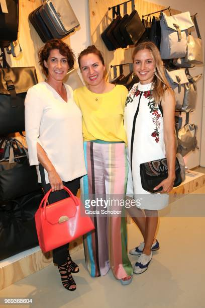 Alice Krueger wife of Hardy Krueger jr Director Justina Rokita and Annika Blendl during the Bree 'Urban Showroom' store opening on June 7 2018 in...