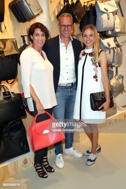 Alice Krueger wife of Hardy Krueger jr Managing Director Stefan Treiber and Annika Blendl during the Bree 'Urban Showroom' store opening on June 7...