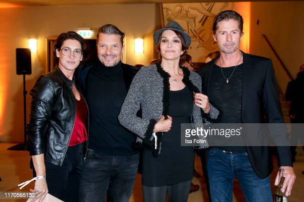 Alice Krueger with her husband German actor Hardy Krueger Jr and German actress Anouschka Renzi with her boyfriend German actor Marc Zabinski during...