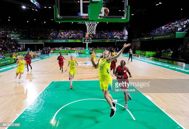 Alice Kunek of Australia attempts a lay up during the womenÕs Pool A Basketball match between Australia and Mozambique on day two of the Gold Coast...