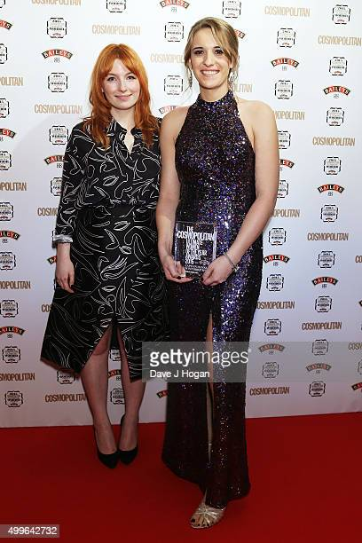 Alice Levine and Captian Hannah Winterbourne pose for a photo with the award for Trailblazer during the Cosmopolitan Ultimate Women Of The Year...