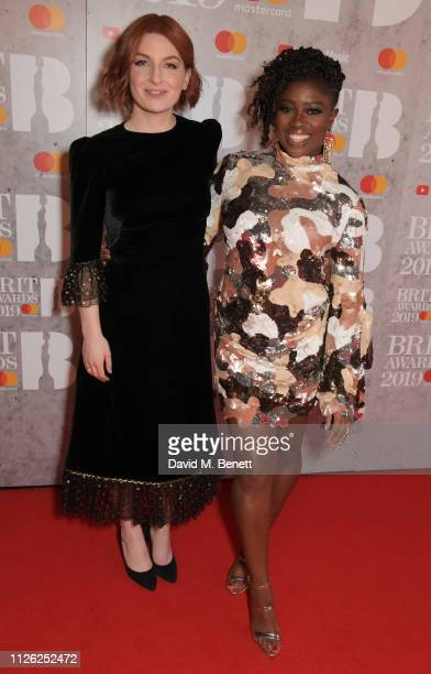 Alice Levine and Clara Amfo arrive at The BRIT Awards 2019 held at The O2 Arena on February 20 2019 in London England