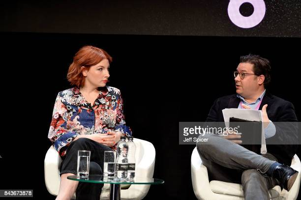 Alice Levine and Sebastian Peck speak at the Technology with Heart Jaguar Land Rover's Tech Fest at Central St Martins on September 7 2017 in London...