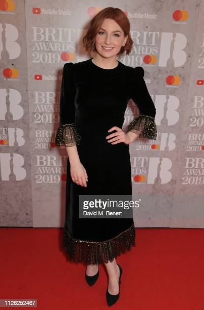 Alice Levine arrives at The BRIT Awards 2019 held at The O2 Arena on February 20, 2019 in London, England.