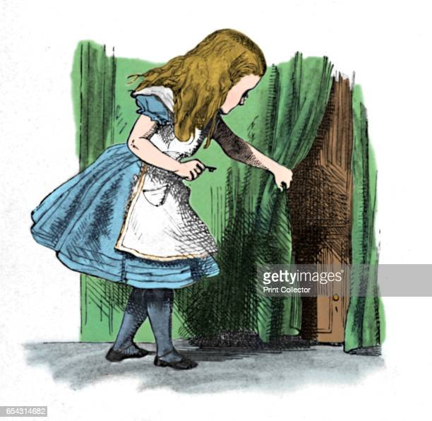 Alice looking at a small door behind a curtain 1889 Lewis Carrolls Alice in Wonderland as illustrated by John Tenniel From Alices Adventures in...