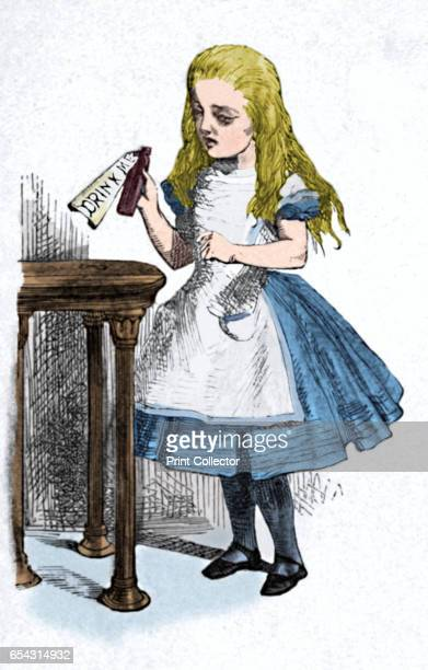 Alice looking at the bottle with the sign drink me 1889 Lewis Carrolls Alice in Wonderland as illustrated by John Tenniel From Alices Adventures in...
