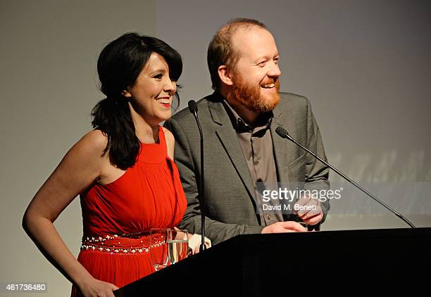 Alice Lowe and Steve Oram host The Critics' Circle Film Awards at The May Fair Hotel on January 18 2015 in London England