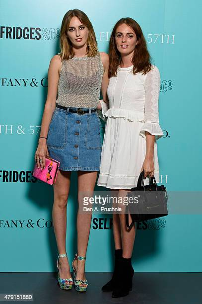 Alice Manners and Violet Manners arrive at the Tiffany Co immersive exhibition 'Fifth 57th' at The Old Selfridges Hotel on July 1 2015 in London...