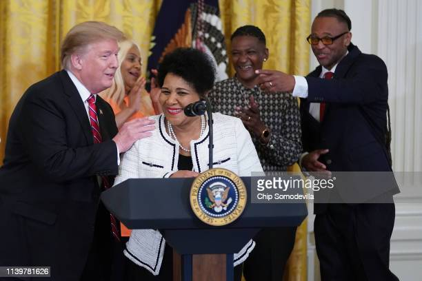 Alice Marie Johnson who had her sentence commuted by President Donald Trump after she served 21 years in prison for cocaine trafficking speaks during...