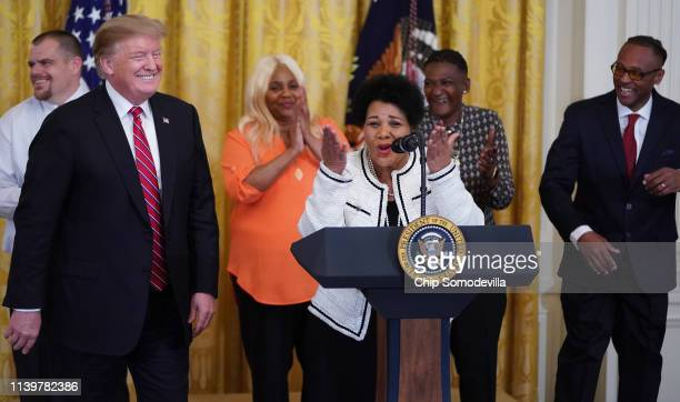 Alice Marie Johnson who had her sentence commuted by US President Donald Trump after serving 21 years in prison for cocaine trafficking thanks the...