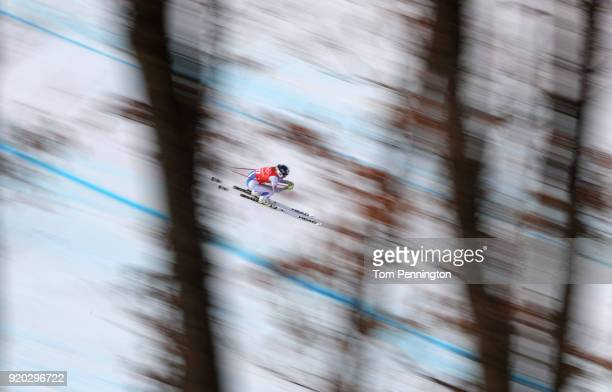 Alice McKennis of the United States makes a run during Alpine Skiing Ladies' Downhill Training on day 10 of the PyeongChang 2018 Winter Olympic Games...