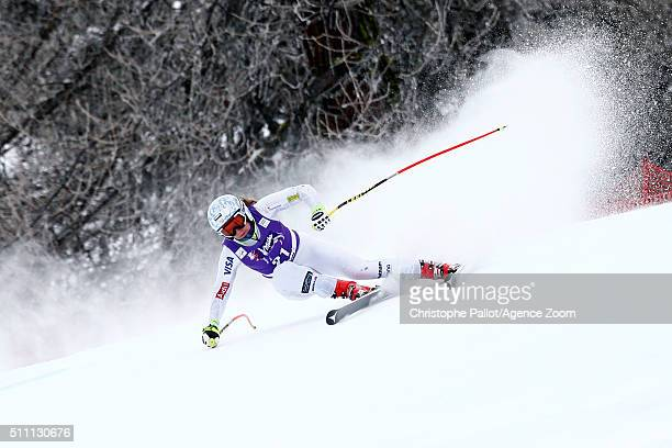Alice McKennis of the USA competes during the Audi FIS Alpine Ski World Cup Women's Downhill Training on February 18 2016 in La Thuile Italy