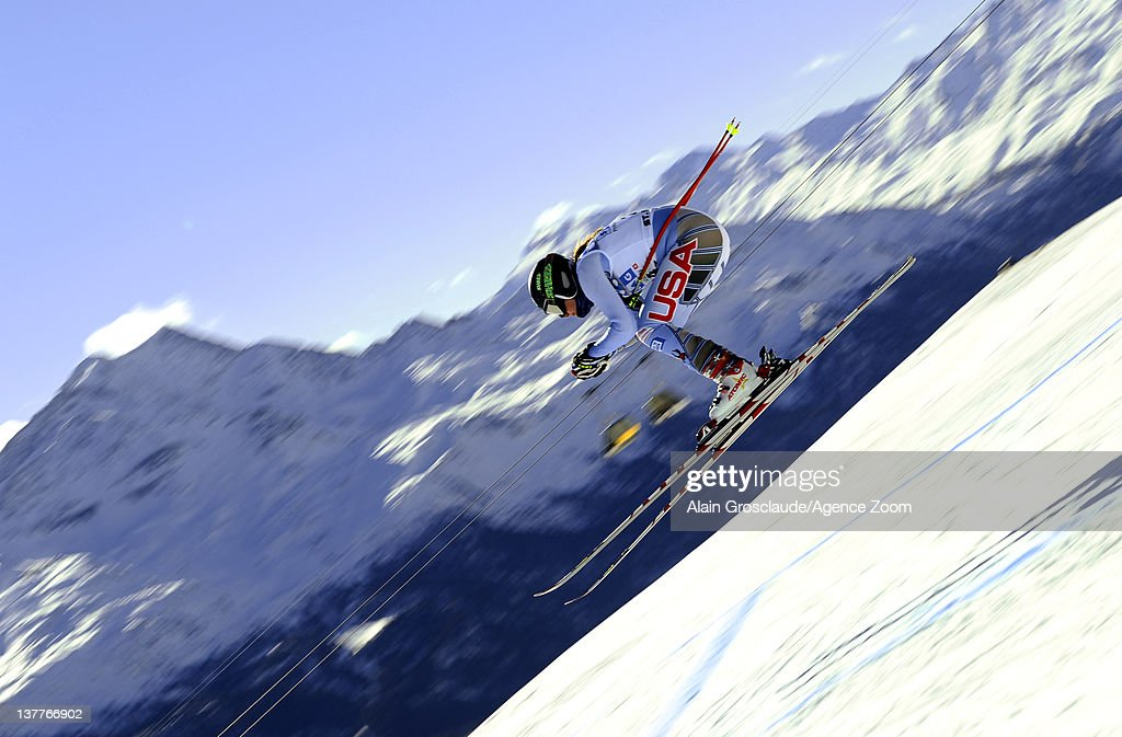 Alice Mckennis of the USA skis during the Audi FIS Alpine Ski World Cup Women's Downhill Training on January 26, 2012 in St.Moritz, Switzerland.