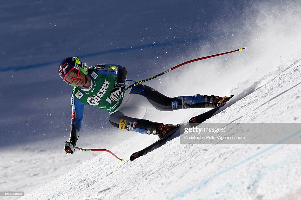 Alice McKennis of the USA takes 1st place competes during the Audi FIS Alpine Ski World Cup Women's Downhill on January 12, 2013 in St. Anton, Austria.